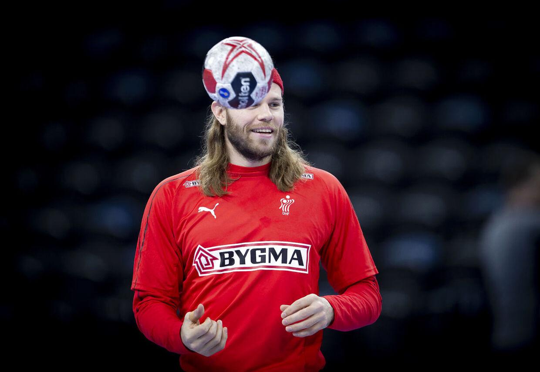 Mikkel Hansen under træningen i Royal Arena onsdag den 9. januar 2019. (Foto: Liselotte Sabroe/Ritzau Scanpix)