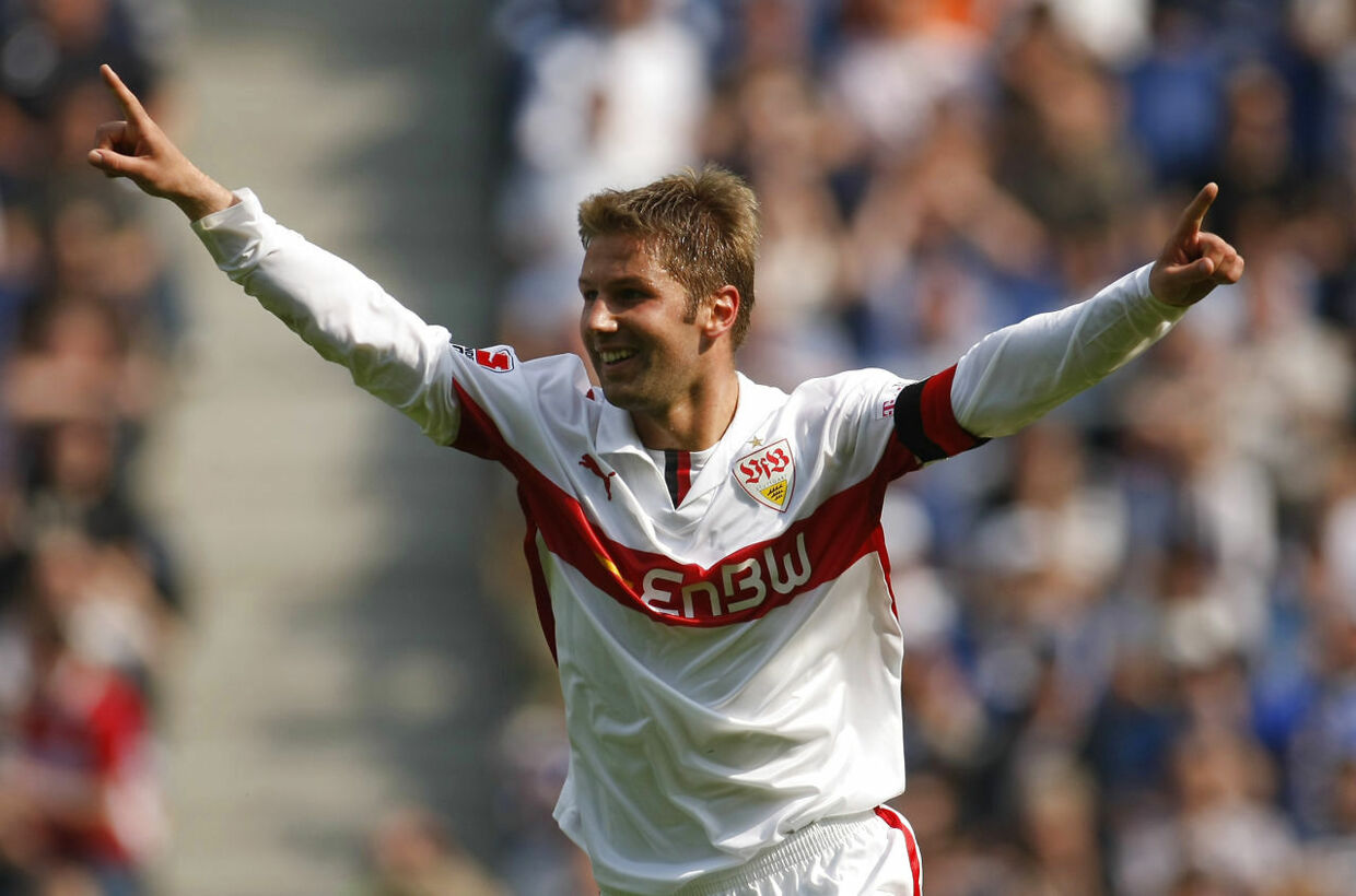 """File photo of VfB Stuttgart's Thomas Hitzlsperger celebrating a goal against Arminia Bielefeld during the German Bundesliga soccer match in Bielefeld May 2, 2009. Former international midfielder Thomas Hitzlsperger has become one of the few high profile sportsmen, and the first well-known German footballer, to publicly reveal that he is gay, January 8, 2014. """"I'm making my homosexuality public because I would like to advance the discussion of homosexuality among professional athletes, """" he told Die Zeit in an interview to be published on Thursday. The 31-year-old, who retired in September, played 52 times for Germany between 2004 and 2010 and spent his club career at Aston Villa, VfB Stuttgart, Lazio, West Ham United, VfL Wolfsburg and Everton. REUTERS/Ina Fassbender (GERMANY - Tags: SPORT SOCCER)"""