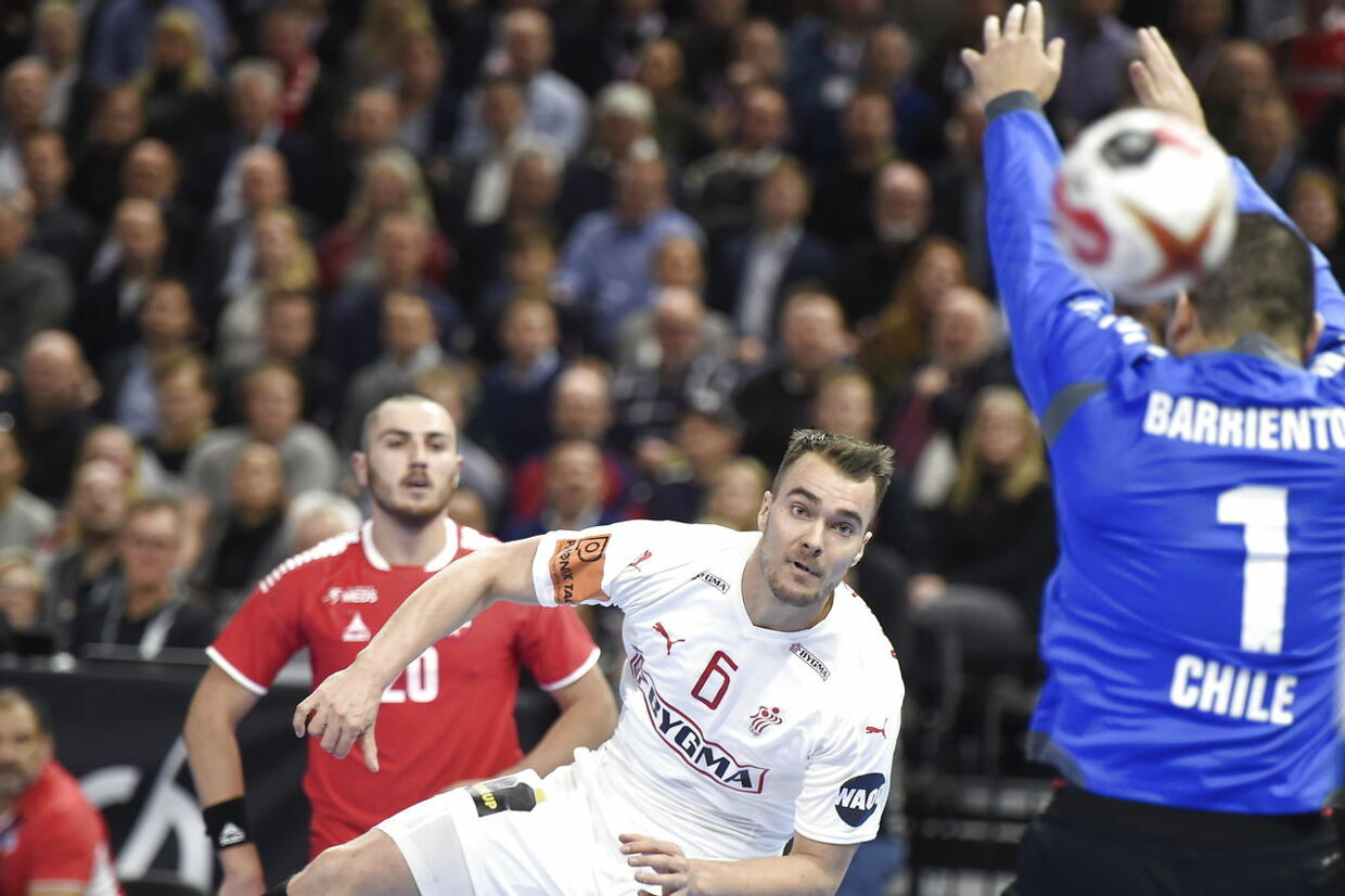 Denmark vs. Chile. World Cup Group C Handball match at Royal Arena in Copenhagen, Denmark, Thursday january 10th. 2019.