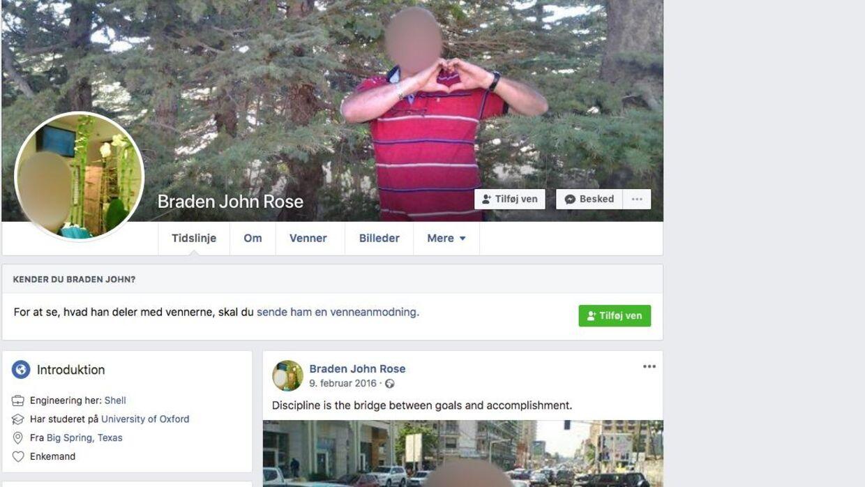 John Rose Bradens falske Facebook-profil.