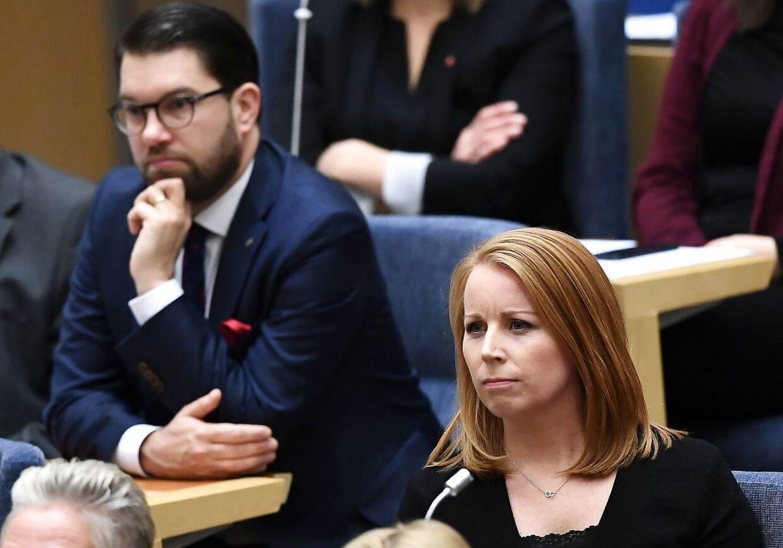 Annie Lööf indtager en central rolle i dannelsen af en ny regering i Sverige - mens Jimmie Åkesson, der her sidder bag hende, næppe vil få et ben til jorden.