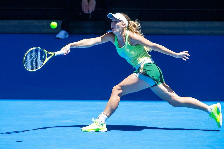 Caroline Wozniacki spillede onsdag træningskamp i Melbourne Park mod Elina Svitolina.