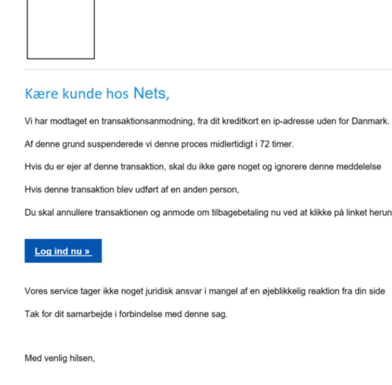 Et eksempel på den type falske mails, der florerer i øjeblikket.