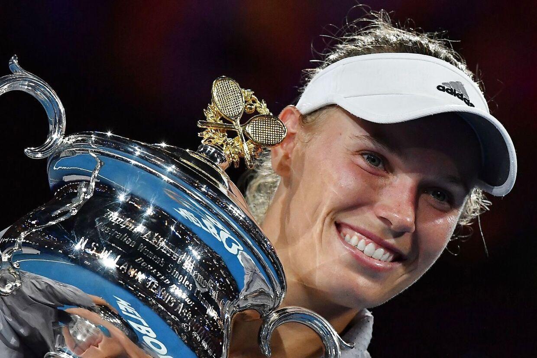Sådan så Caroline Wozniacki ud for et år siden, hvor hun vandt Australian Open.