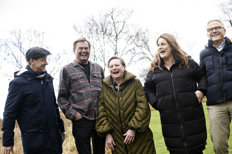 Henrik Lykkegaard, Ulf Pilgaard, Lisbet Dahl, Lise Baastrup og Karsten Jansfort, da holdet bag Cirkusrevyen 2019 møder pressen i Klithuset i Dronningmølle søndag den 13. januar 2019.