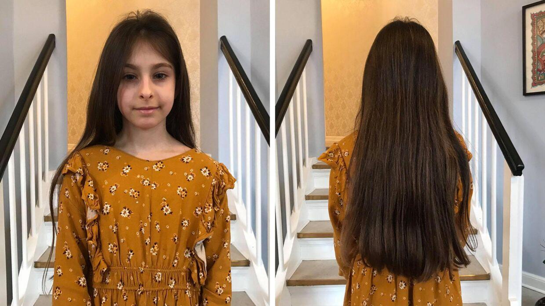 Saras hår var mere end en halv meter langt, da hun valgte at donere til Hathair. (Foto: B.T.)