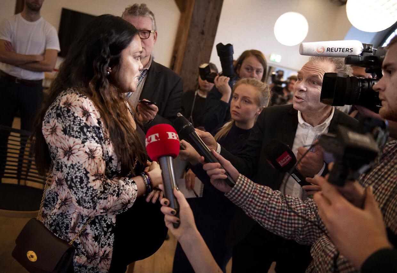 Udlændinge- og integrationsminister Inger Støjberg (V) byder nye danske statsborgere velkommen ved den første grundlovsceremoni i Eigtveds Pakhus torsdag den 17. januar 2019. (Foto: Liselotte Sabroe/Ritzau Scanpix)