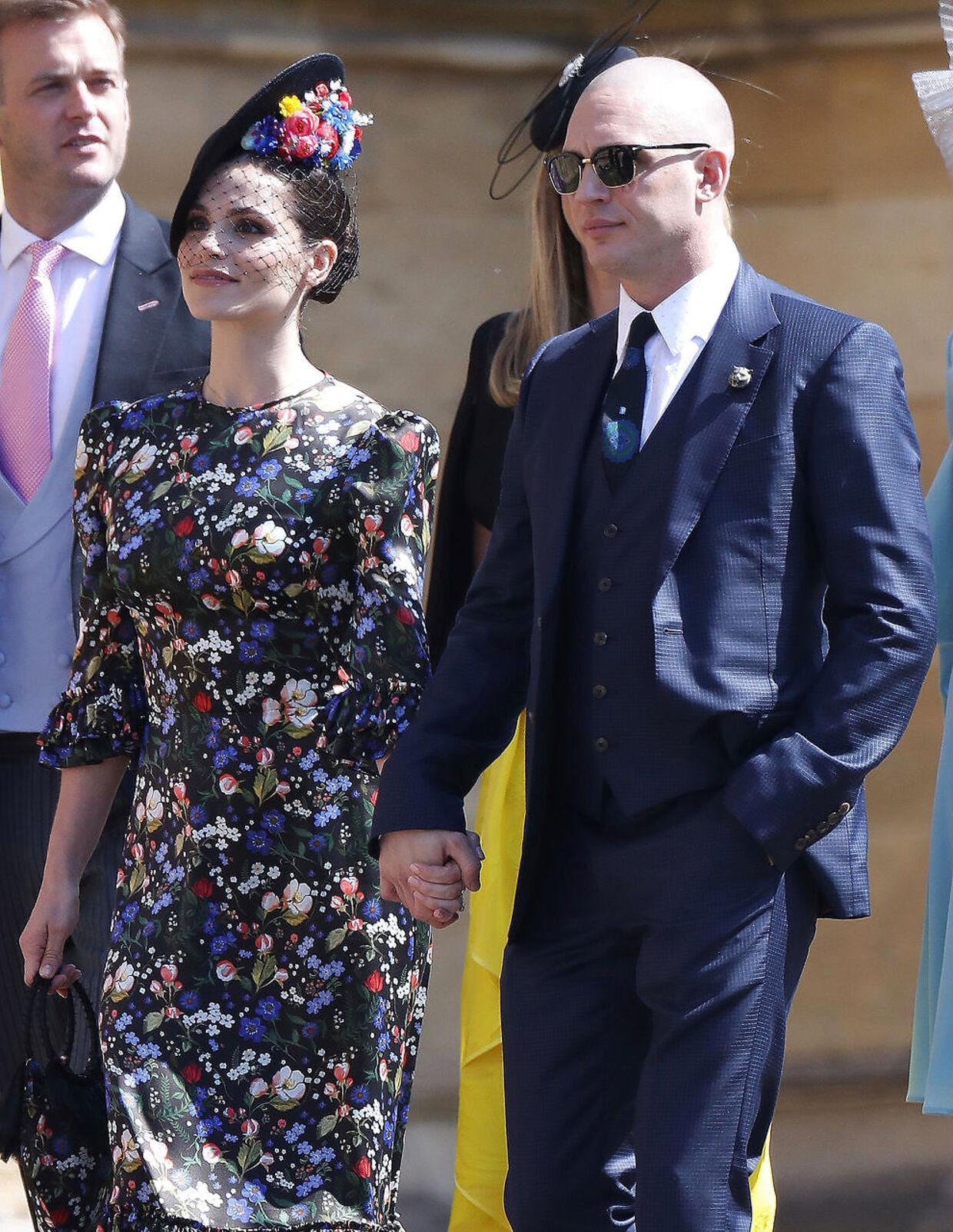 Charlotte Riley og Tom Hardy var nogle af de udvalgte, som fik lov til at deltage ved det kongelige bryllup af prins Harry og Meghan Markle i maj 2018. Chris Jackson/Pool via REUTERS