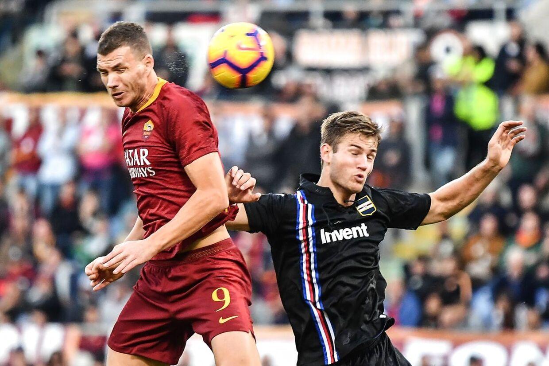 Joachim Andersen i duel med AS Roma-bomber Edin Dzeko.