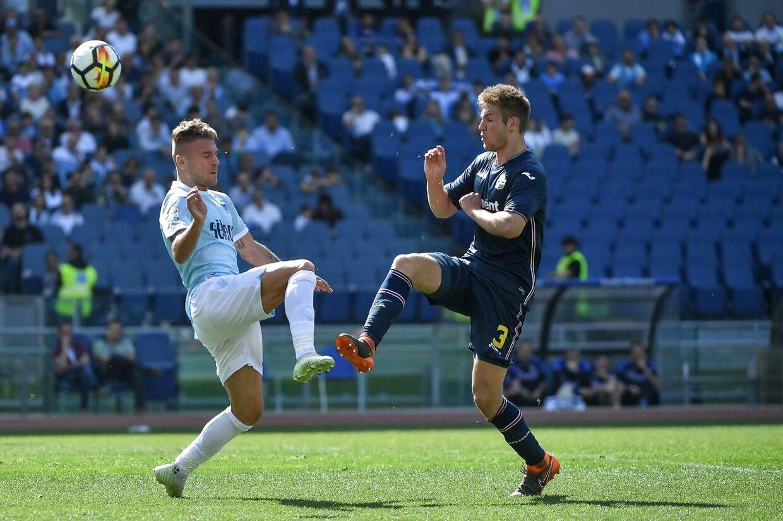 Joachim Andersen og Ciro Immobile, italiensk landsholdsspiller fra SS Lazio.