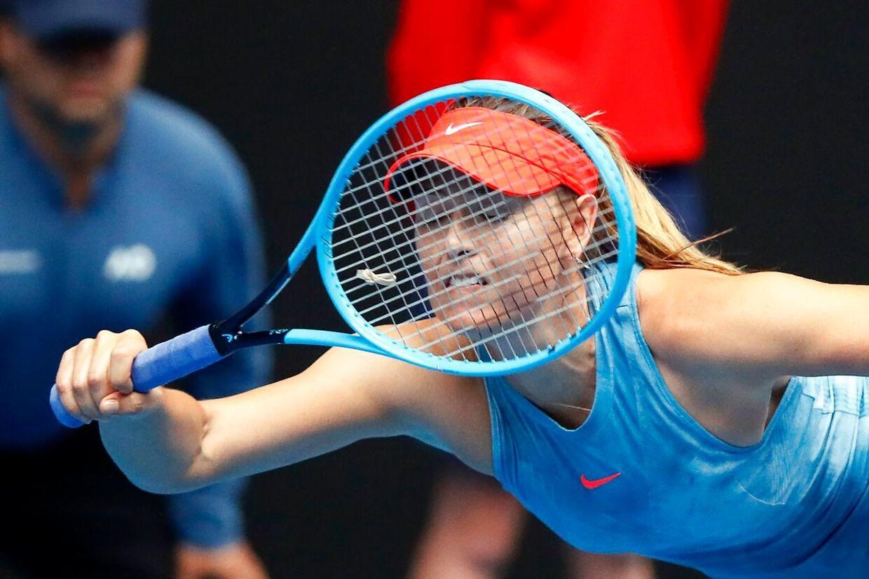 Maria Sharapova besejrede Caroline Wozniacki ved Australian Open.
