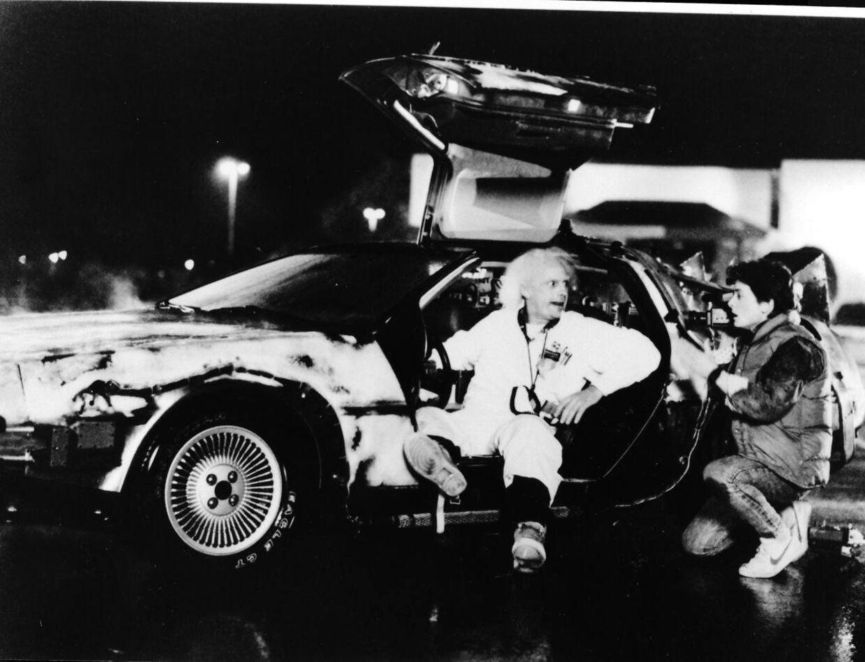 Christopher Lloyd som Doc Brown og Michael Fox som Marty McFly i en scene fra filmen 'Tilbage til fremtiden' instrueret af Steven Spielberg i 1992