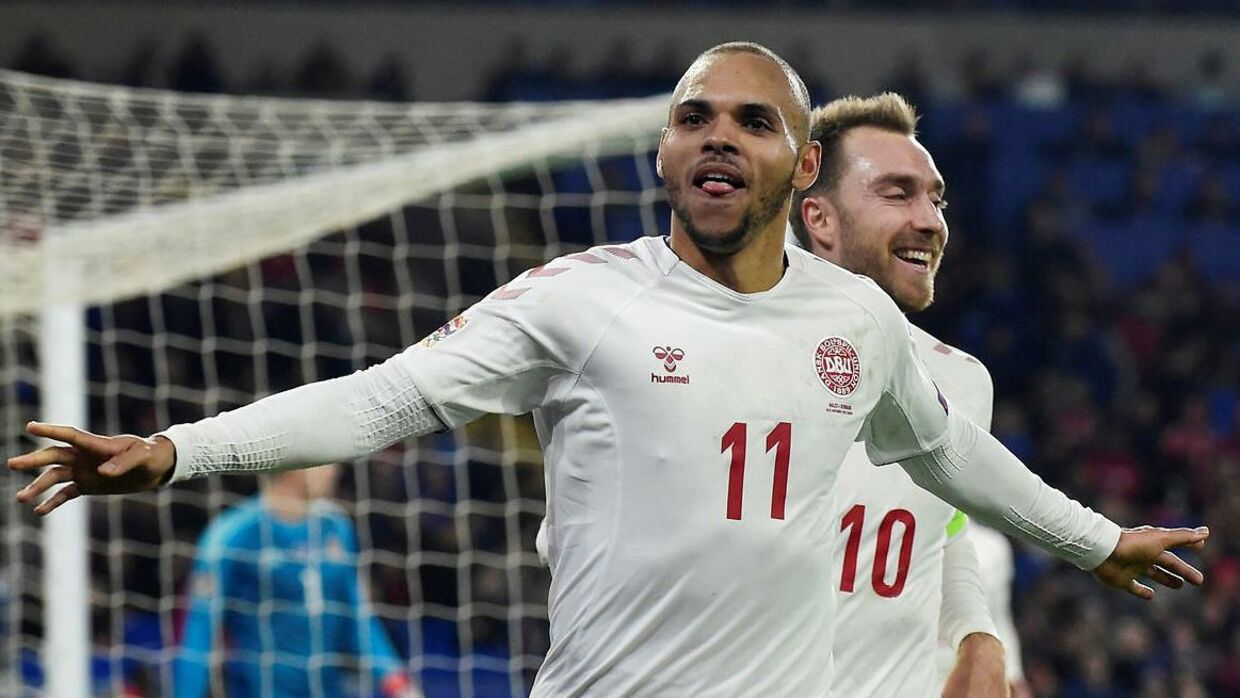 Soccer Football - UEFA Nations League - League B - Group 4 - Wales v Denmark - Cardiff City Stadium, Cardiff, Britain - November 16, 2018 Denmark's Martin Braithwaite celebrates scoring their second goal REUTERS/Rebecca Naden