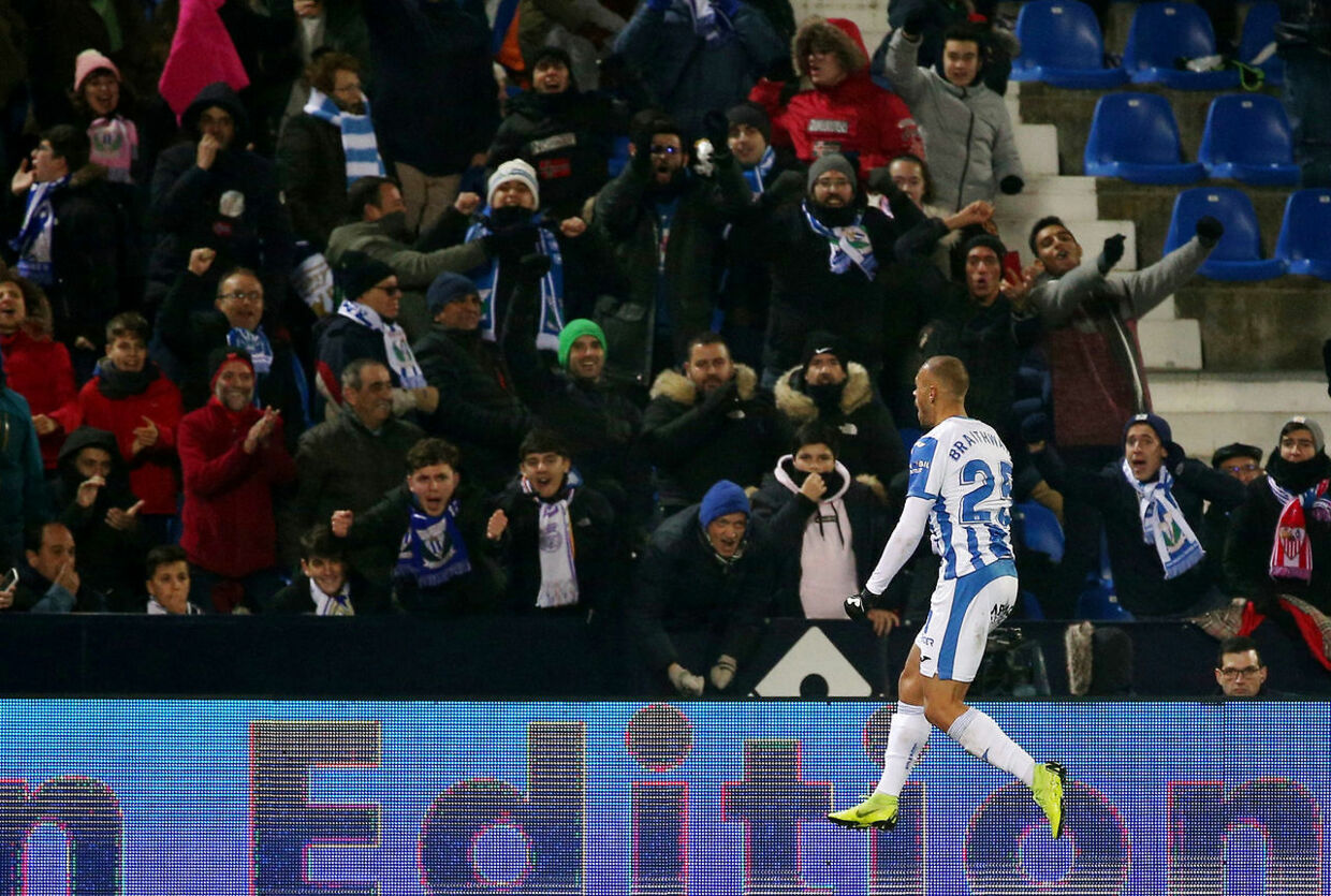 Soccer Football - Copa del Rey - Round of 16 - Second Leg - Leganes v Real Madrid - Butarque Municipal Stadium, Leganes, Spain - January 16, 2019 Leganes' Martin Braithwaite celebrates scoring their first goal REUTERS/Javier Barbancho