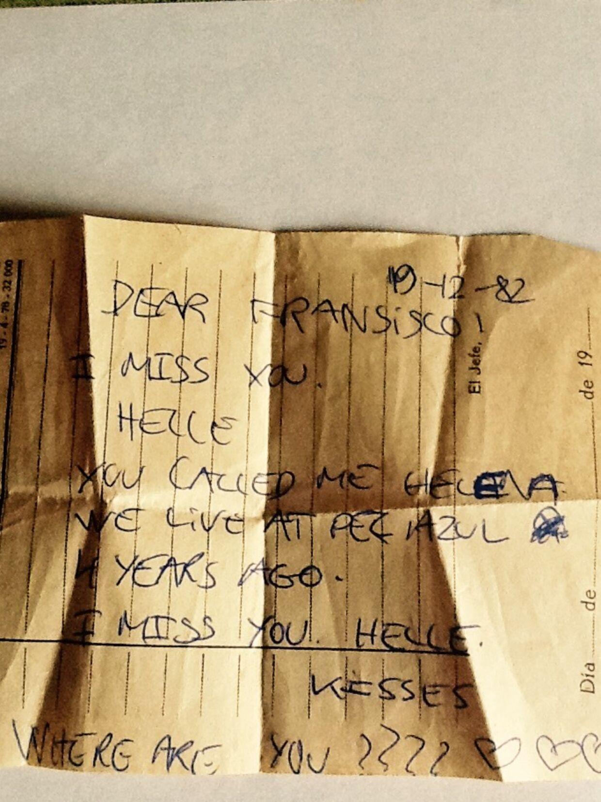 Fransisco har gemt den seddel, som Helle efterlod til ham i 1982. (Privatfoto)