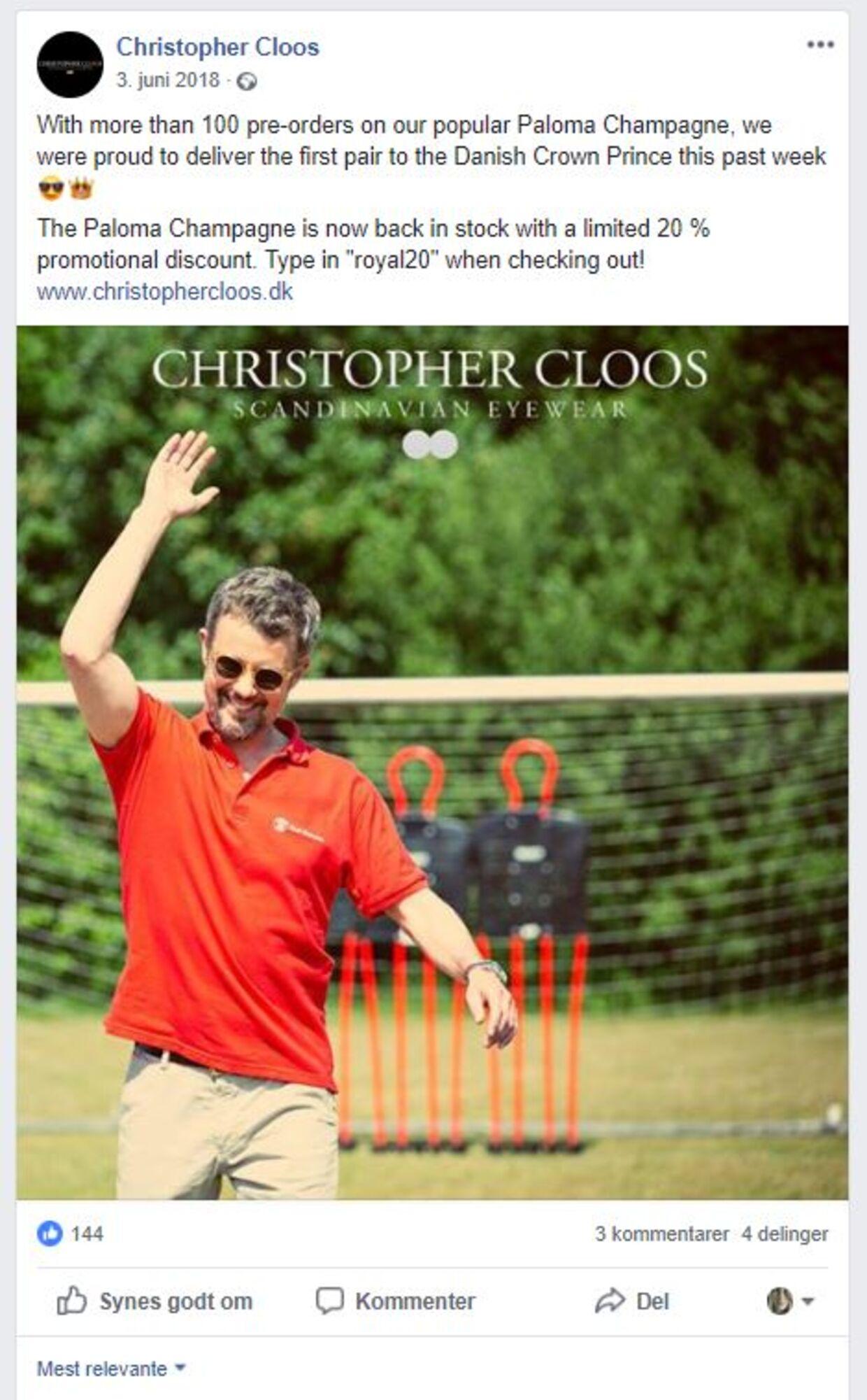 Solbrillefirmaet Christopher Cloos lagde 3. juni 2018 et bilelde af kronprinsen på deres facebook-side, uden samtykke fra kongehuset. Foto: Facebook
