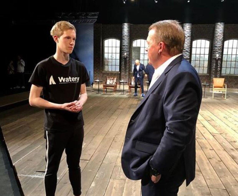 I forbindelse med optagelserne til Løvens Hule mødte Daniel Johannesen statsminister Lars Løkke Rasmussen, og han fortalte ham om sine problemer med opstart af virksomheden. Foto: Daniel Johannesen.