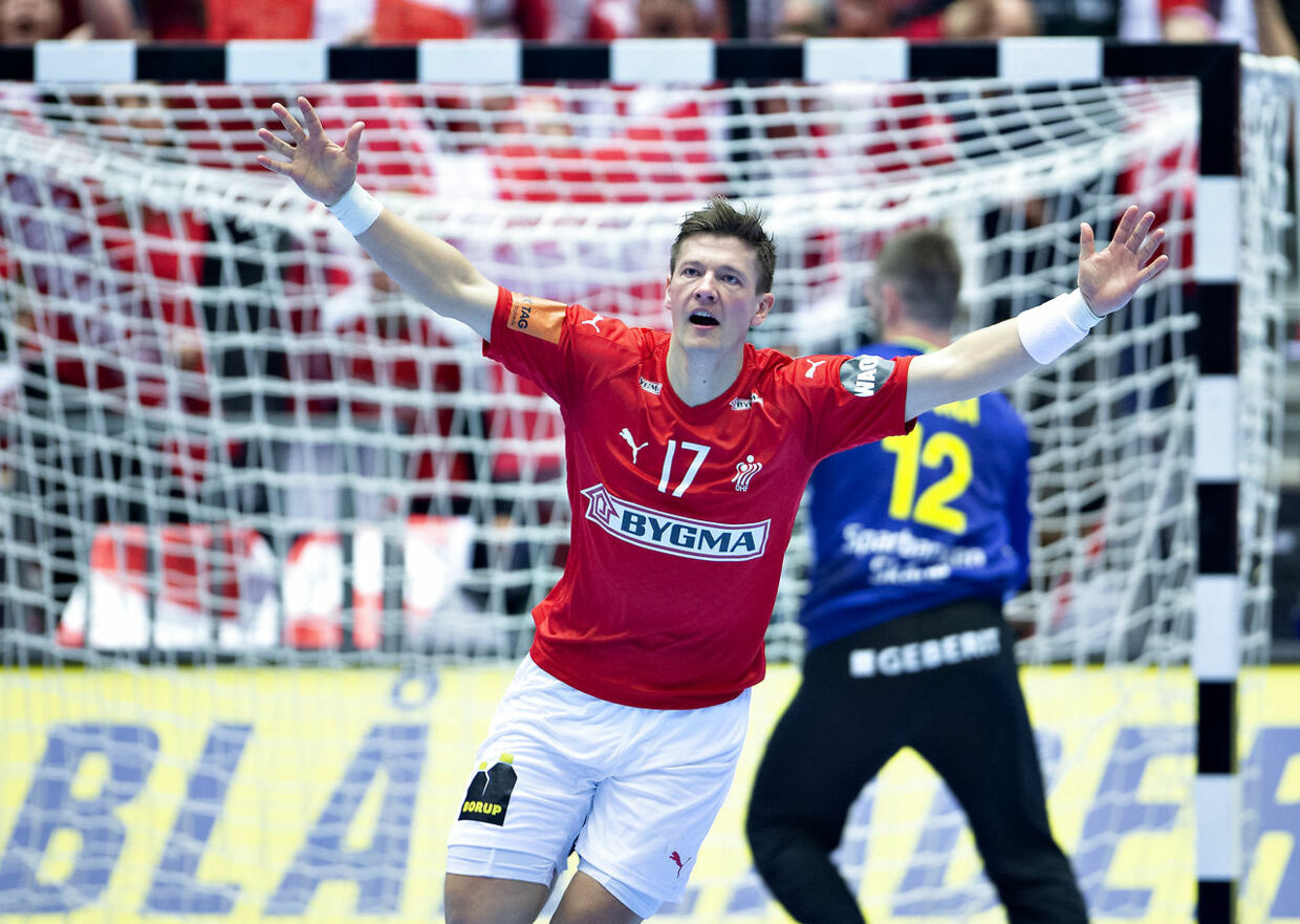 Lasse Svan of Denmark during the men's IHF Handball World Championship Main Round Group 2 match between Denmark and Sweden in Herning, Denmark, Wednesday, Jan. 23, 2019.