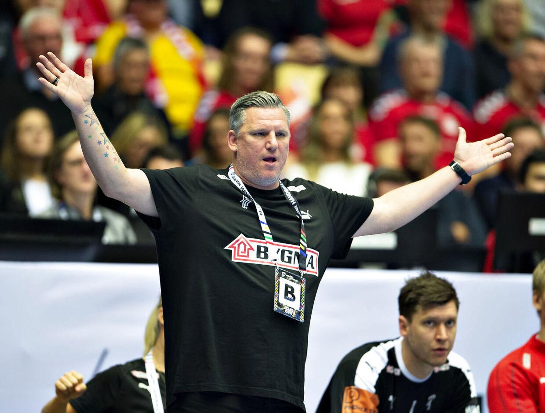 Coach Nikolaj Jacobsen of Denmark during the men's IHF Handball World Championship Group C match between Denmark and Saudi Arabia in Herning, Denmark, on Monday, Jan 14, 2019.. (Foto: Henning Bagger/Ritzau Scanpix)