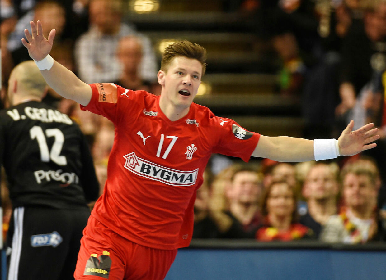 IHF Handball World Championship - Germany & Denmark 2019 - Semi Final - Denmark v France - Barclaycard Arena, Hamburg, Germany - January 25, 2019 Denmark's Lasse Svan celebrates during the match REUTERS/Fabian Bimmer