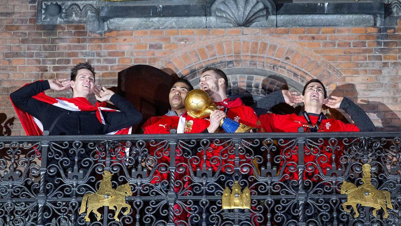 Det danske herrelandshold der vandt guld i VM i håndbold hyldes på Københavns Rådhusplads, mandag den 28. januar 2019. (Foto: Bax Lindhardt/ Scanpix 2019)