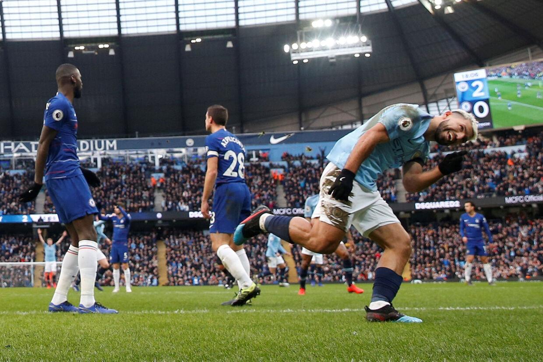 For anden ligakamp i træk scorede Sergio Agüero hattrick for Manchester City, som slog Chelsea med hele 6-0 søndag. Carl Recine/Ritzau Scanpix