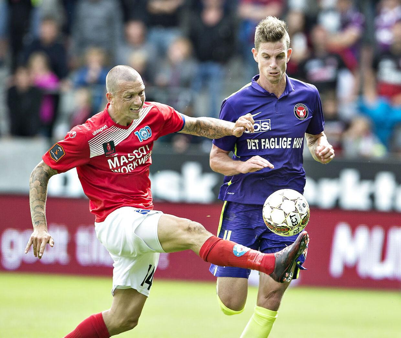 Dennis Flinta (tv.) har spillet i Silkeborg af to omgange. Først fra 2004 til 2007, og igen fra 2009 til nu. Fra 2007 til 2009 spillede han i FC Midtjylland.