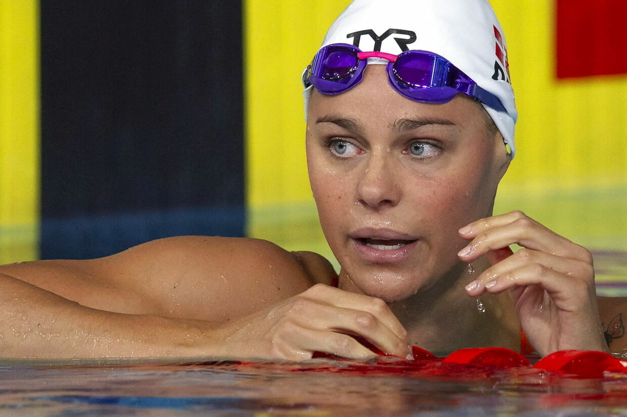 epa06933157 Pernille Blume of Denmark reacts after competing in the women's 100m Freestyle Semifinal at the Glasgow 2018 European Swimming Championships, Glasgow, Britain, 7 August 2018. Pernille Blume of Denmark missed to qualify for the final, scheduled on 08 August 2018. EPA/PATRICK B. KRAEMER