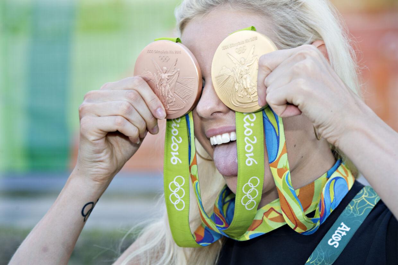 Pernille Blume vandt OL-guld i 50 meter fri og OL-bronze i medleyholdkappen. Jens Nørgaard Larsen/Ritzau Scanpix