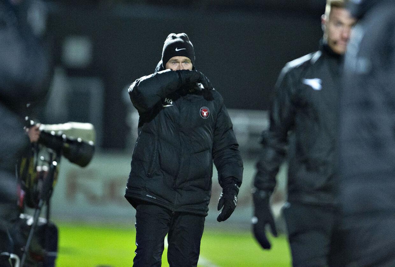 FC Midtjyllands træner Kenneth Andersen i Superligakampen mod Vendsyssel FF.