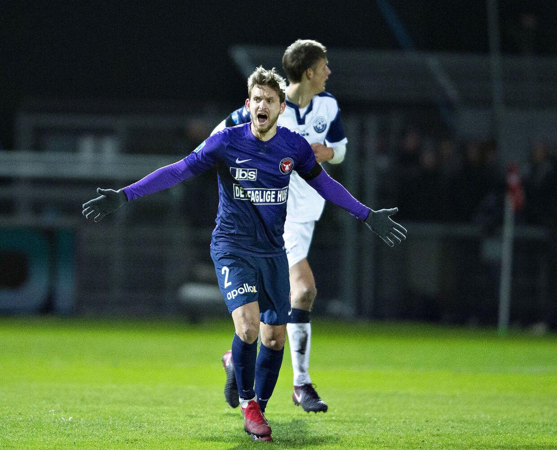 Kian Hansen jubler over sin scoring til 1-0.