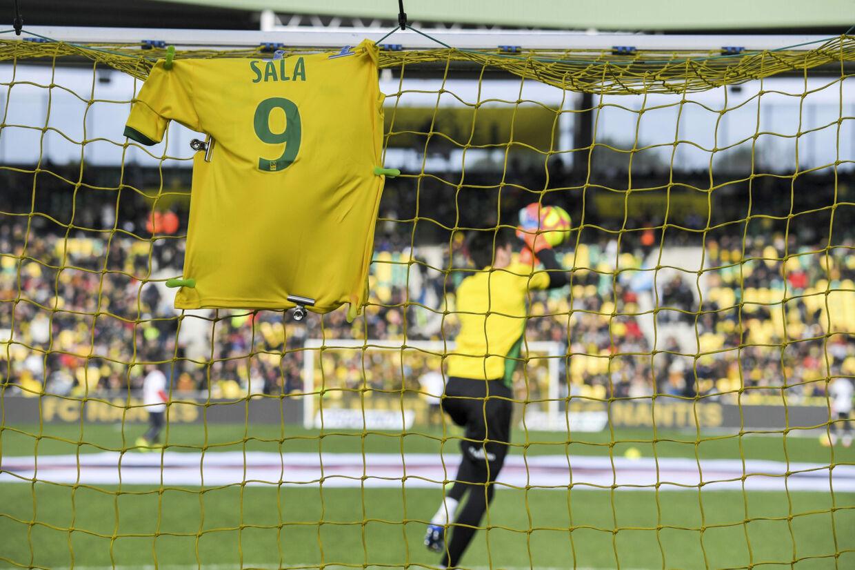 Emiliano Sala spillede indtil sin død for Nantes, som hyldede ham før ligakampen mod Nimes i den forgangne weekend. Loic Venance/Ritzau Scanpix