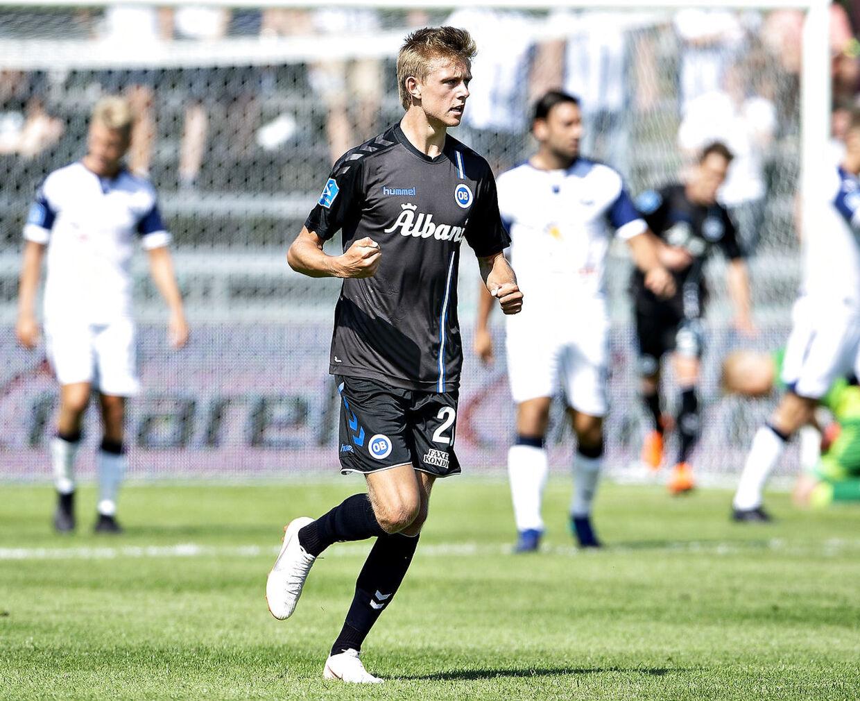 OB's Mathias Jørgensen har reduceret til 2-3 i Superliga-kampen Vendsyssel FF mod OB på Nord Energi Arena i Hjørring, 15. juli 2018.. (Foto: Henning Bagger/Ritzau Scanpix)