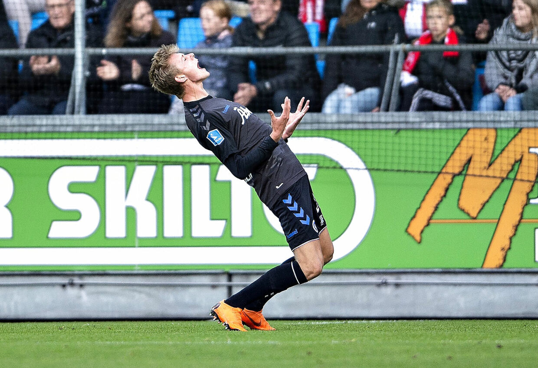 OB's Mathias Jørgensen efter en brændt chance i Superliga-kampen mellem Aab og OB på Aalborg Portland Park, søndag 30. september 2018.. (Foto: Henning Bagger/Ritzau Scanpix)
