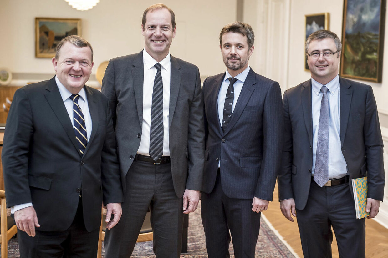 Her ses Christian Prudhomme (nummer to fra venstre) sammen med Lars Løkke Rasmussen, kronprins Frederik og Cyrille Tricart fra ASO. Billedet er fra et møde i 2017.