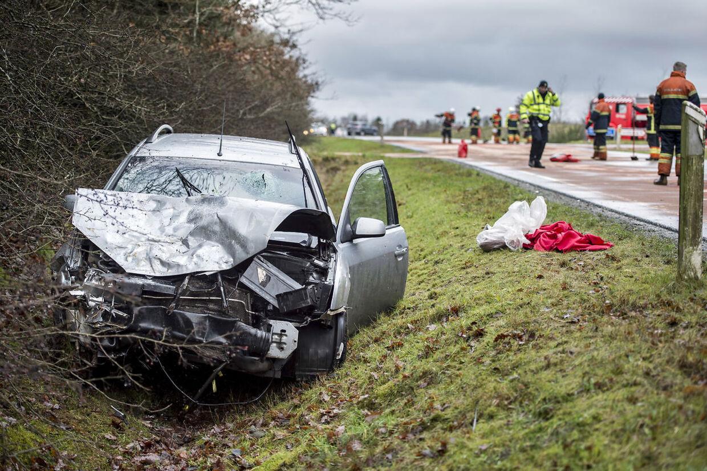 Trafikuheld ved T-krydset Hodsagervej og Brogårdvej vest for Hodsager søndag den 9. december 2018. En kvinde og to børn døde i ulykken (Foto: Morten Stricker/Ritzau Scanpix)