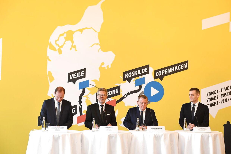 Statsminister Lars Løkke Rasmussen, Københavns overborgmester Frank Jensen og erhvervsminister Rasmus Jarlov holder pressemøde om Tour de France på Københavns Rådhus, torsdag den 21. februar 2019. Kronprins Frederik er også til stede. Tour de France har meddelt, at cykelløbet i 2021 starter i Danmark.
