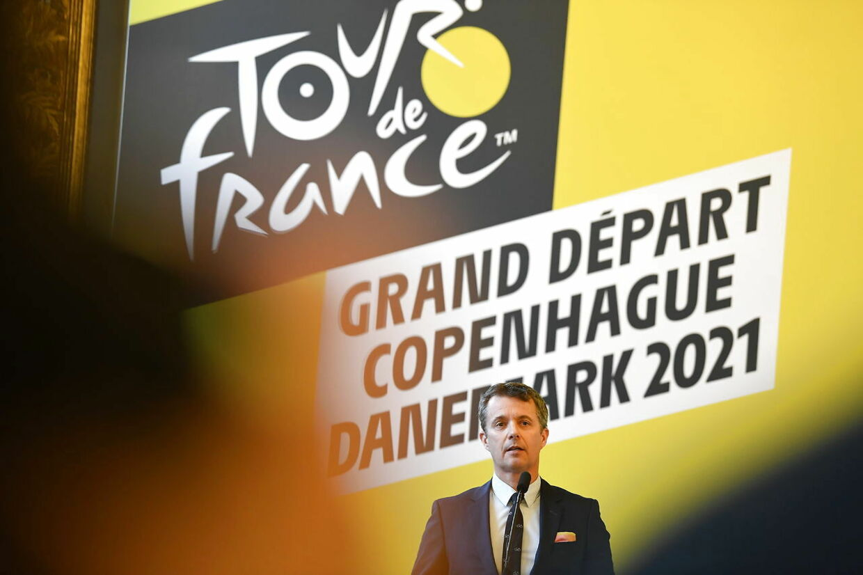 Kronprins Frederik taler på Københavns Rådhus i anledningen af pressemødet afholdt i forbindelse med den danske Tour de France-start i 2021.