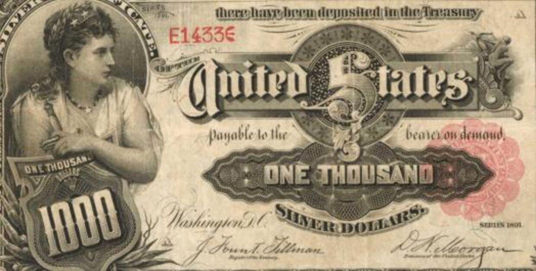 Den berømte tusinddollarseddel fra 1891.
