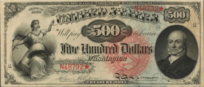 500-dollarsedlen med et portræt af præsident John Quincy Adams.