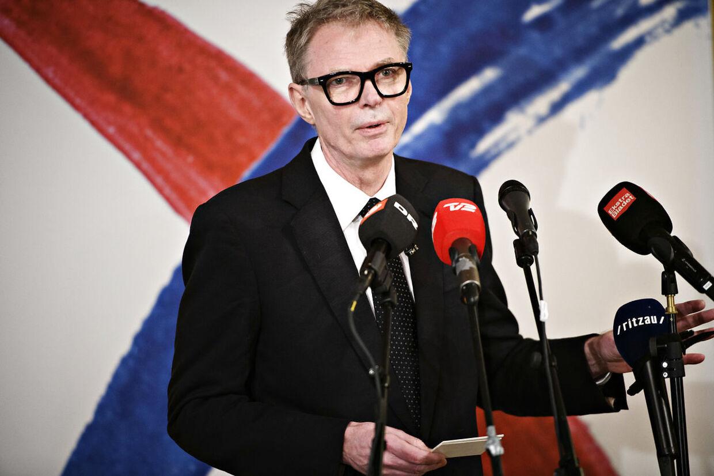 Klaus Riskær Pedersen på pressemødet den 19. februar.