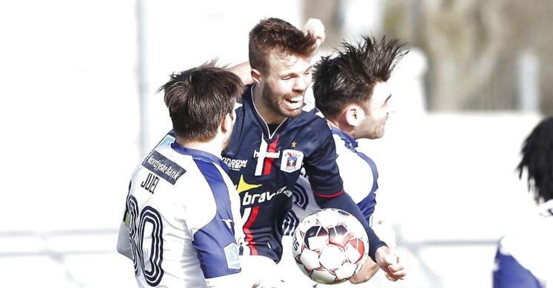 AGF-angriberen Patrick Mortensen, i midten, scorede i søndag eftermiddags Superliga-kamp mod Vendsyssel FF i Hjørring.