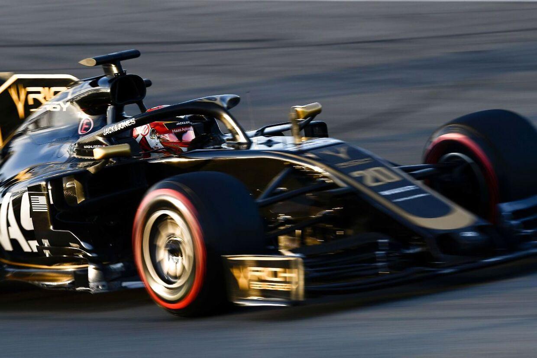 Kevin Magnussen luftede Haas-raceren under vinterstesten i Barcelona.