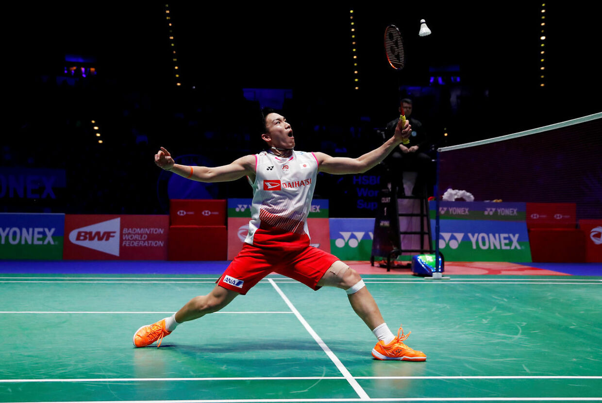 Badminton - All England Open Badminton Championships - Arena Birmingham, Birmingham, Britain - March 10, 2019 Japan's Kento Momota in action during the men's final against Denmark's Viktor Axelsen Action Images via Reuters/Andrew Boyers