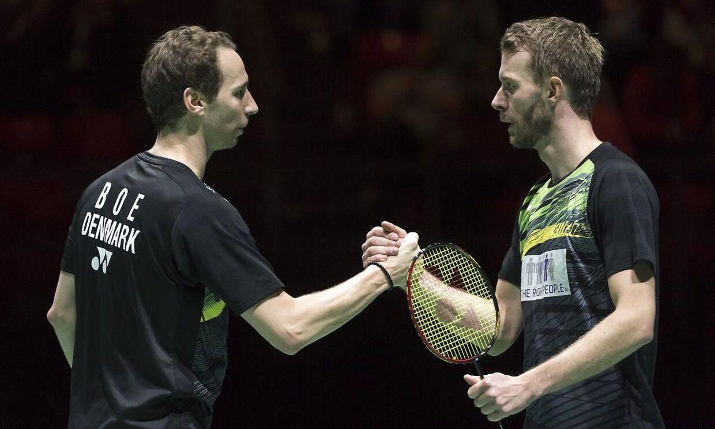 Carsten Mogensen, til højre, og Mathias Boe har dannet par på badmintonbanen siden 2004. Nu er samarbejdet slut.