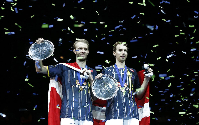 Carsten Mogensen, til venstre, og Mathias Boe vandt herredoublefinalen ved All England i 2015.