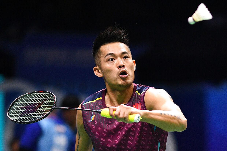 Den tidligere VM- og OL-guldvinder Lin Dan i aktion på badmintonbanen.