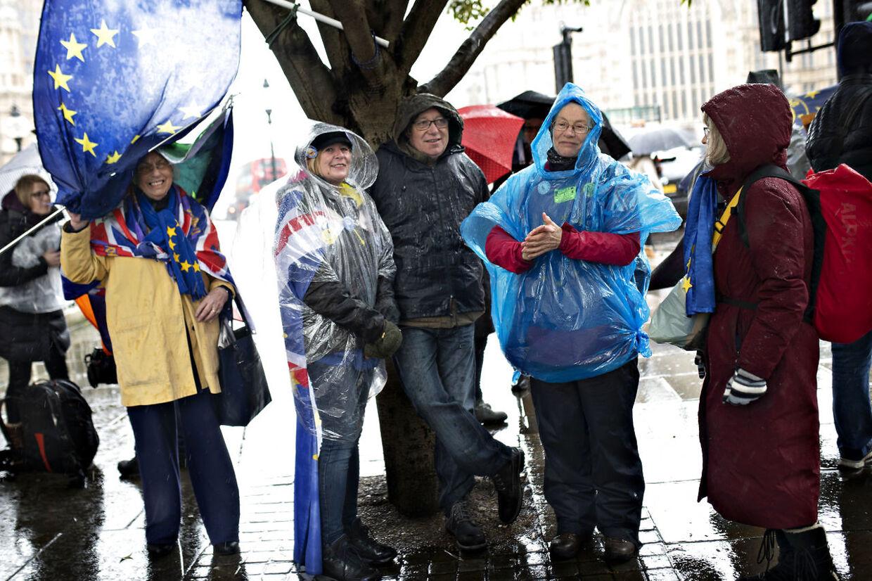 Et pludseligt regnskyl fik de indtil videre få fremmødte demonstranter til at dække sig til. London torsdag den 14. marts 2019.