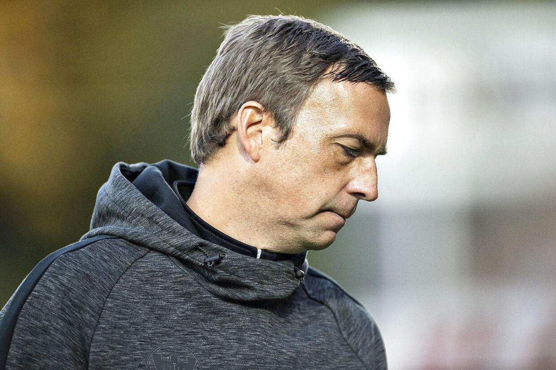 Hobros træner Allan Kuhn fotograferet i det øjeblik AGF scorer til 2-0 i Superliga-kampen mellem Hobro IK og AGF på DS Arena i Hobro , fredag 24. august 2018.. (Foto: Henning Bagger/Ritzau Scanpix)
