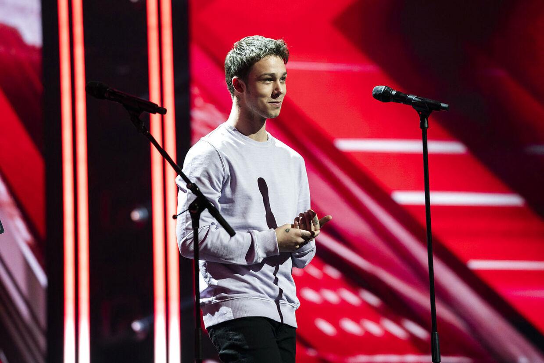 sendxnet Hugo Helmig på scenen ved X Factor 12, Liveshow 3, Fredag d. 15. marts 2019, Tema: Sange fra 2018/2019. (foto: Martin Sylvest/Ritzau Scanpix 2019)